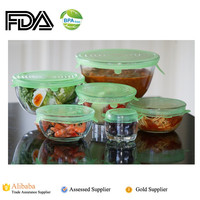 Multi Size 6 Silicone Lids Food and Bowl Covers - Reusable Silicone Stretch Lids Cover Wrap