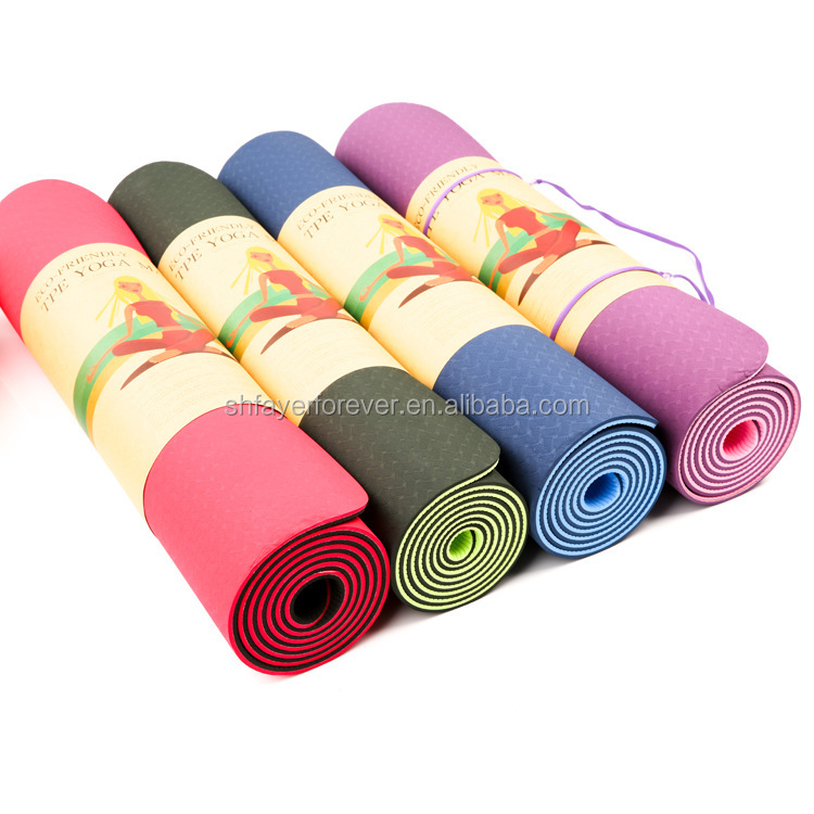 Eco Friendly Two Layer TPE Premium Yoga Pilate Mat with Carry Strap