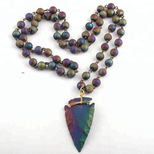 Fashion Rosary Chain Natural Agate Druzy Bead & Stone Arrowhead Pendant Necklaces