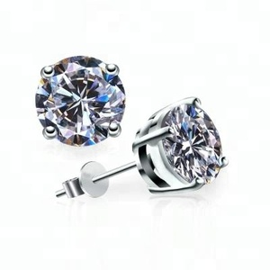 Meno earrings 925 sterling silver white cz prong setting stud earrings for women, 4 prong stud earring