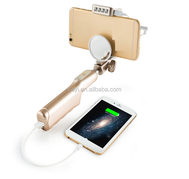 2 in 1 power bank 3200mah and aluminum material wireless bluetooth monopod self sticks with night light