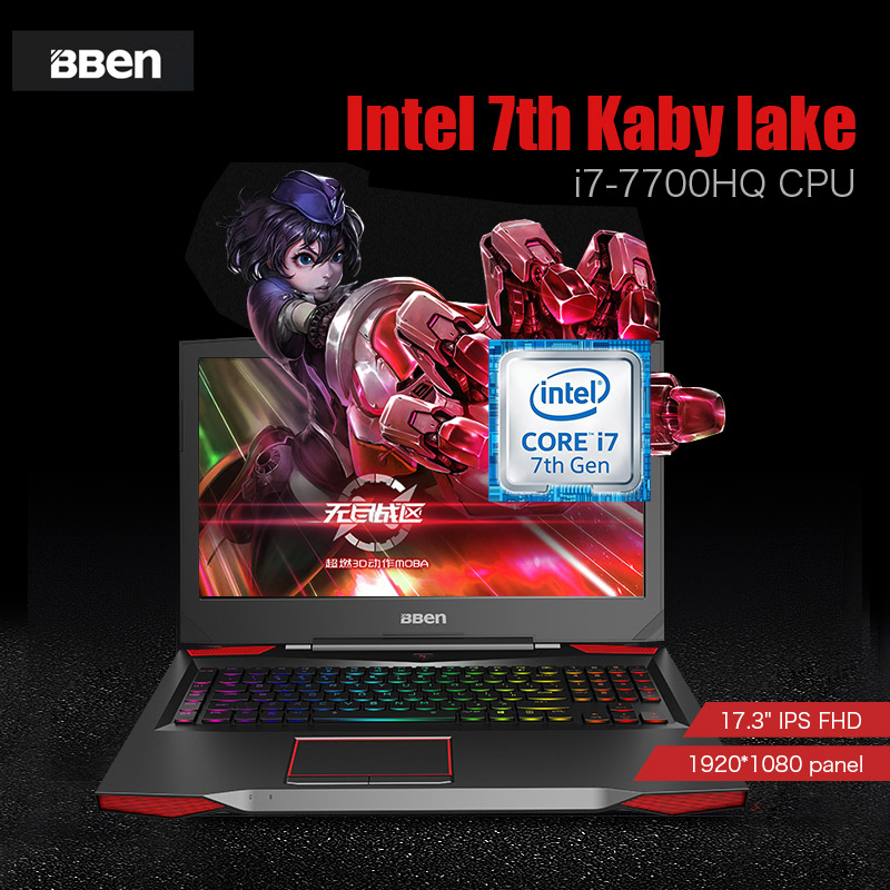 Super 17.3 inch i7-7700HQ NVIDIA GTX 1060 gaming laptop with mechanical keyboard