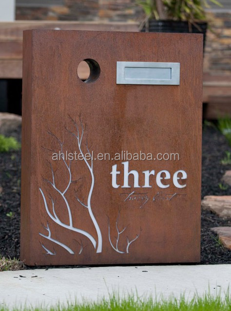 Home Amp Garden Letterbox Corten Steel Outdoor Solar Letter
