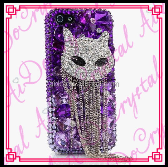 Aidocrystal New The owl Purple Crystal Cover Phone Case with White chain for samsung galaxy j5