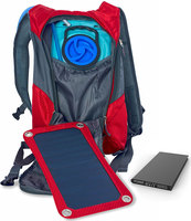 Red Solar Charger Backpack with 10000 Power Bank Ergonomic Hydration Bag