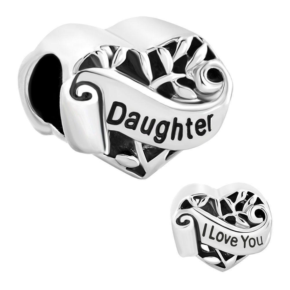 Pugster Filigree Daughter I Love You Heart Charms Cheap Fit Pandora Charms Bracelet