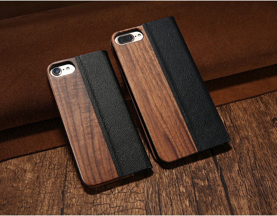 Bamboo Flip Phone Iphone 5S Se 6 6S Wood Protector Cover For Iphone 7 8 Plus X XR XS Max Card Wallet Covers