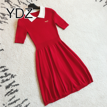 Girls Ladies Party Summer Fashion Lapel Knit Dresses Women With Pictures