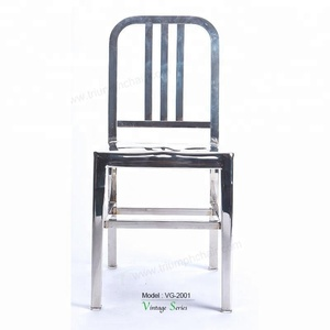 Triumph Modern Polish Stainless Steel Navy Dining chair for Kitchen Dining Room