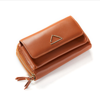 2019 wholesale Customized long style lady wallet shoulder bag double zipper pu lady clutch