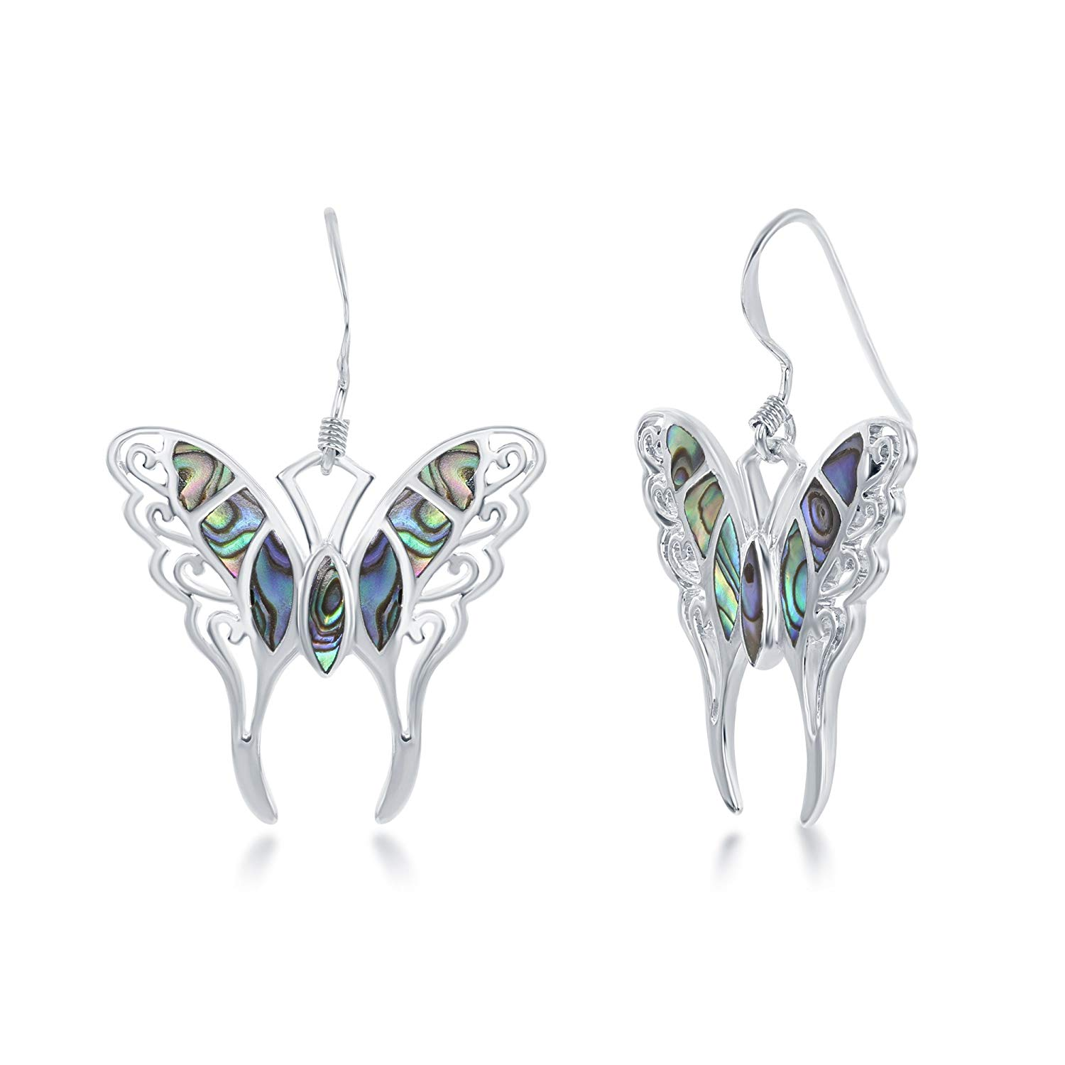 Get Quotations Sterling Silver Italian Large Abalone Erfly Earrings