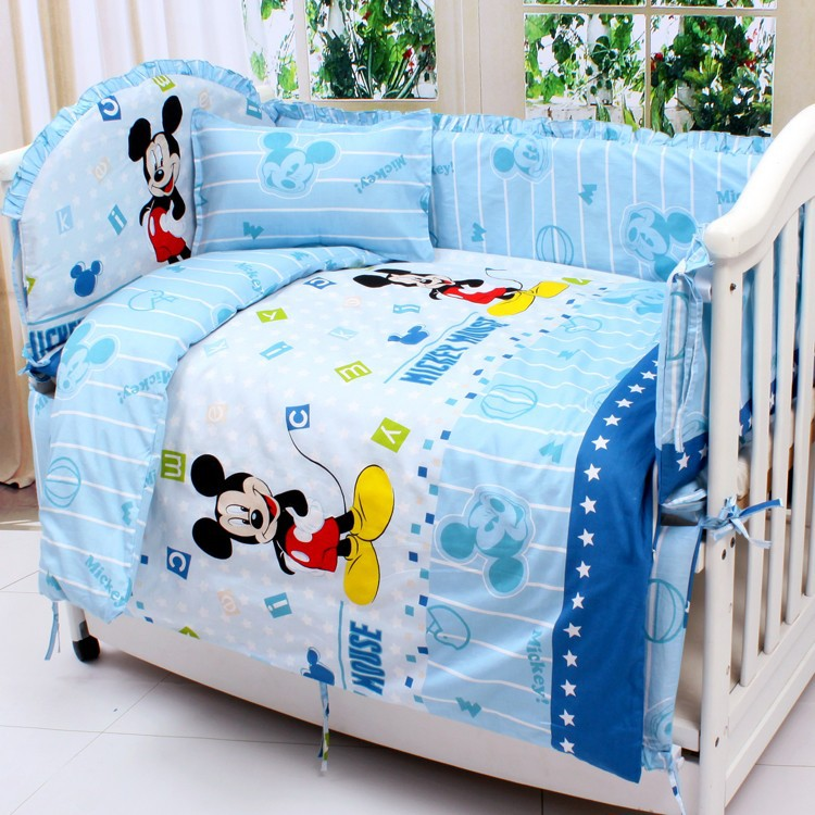 Promotion 7pcs Mickey Mouse baby bedding bed around piece set 100 cotton cot nursery 4bumper duvet