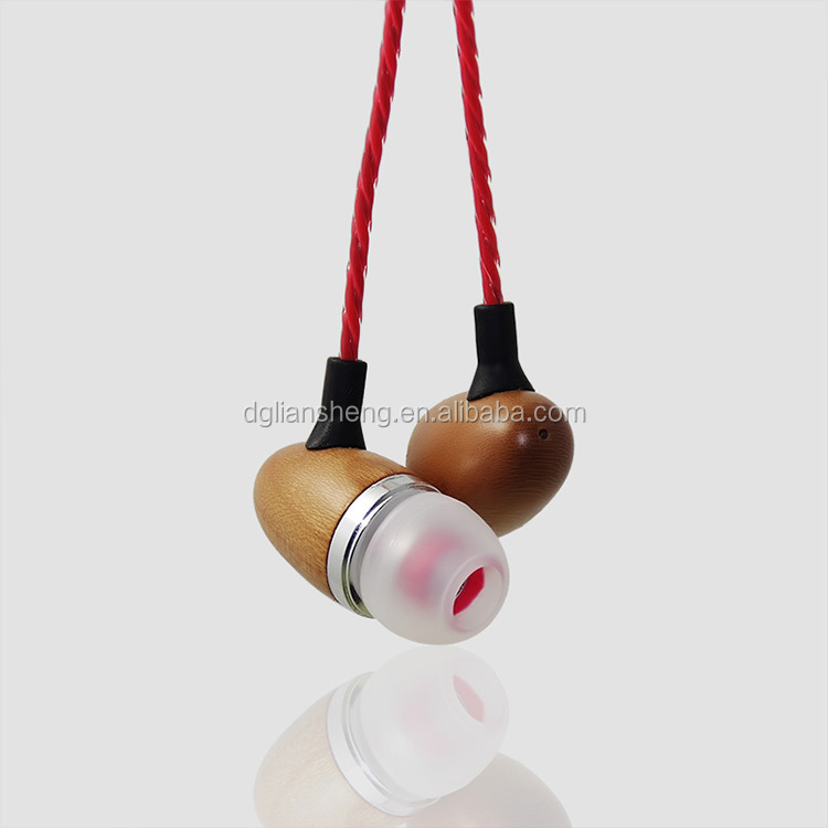 Deep bass sound quality earphone, custom made headphones, cool in-ear stereo wood earphone