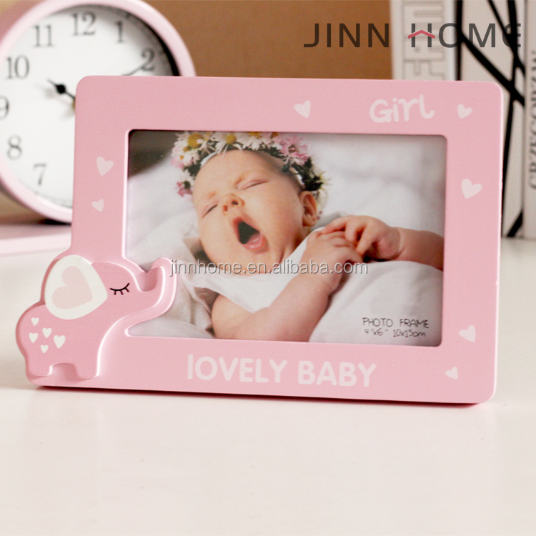 Jinnhome new fashion lovely pink elephant design wooden desktop for baby girl room decoration photo frame first year