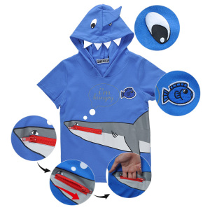 Chinese Garment Factory Outlet 100% Cotton Shark Designs Hoodie T Shirt