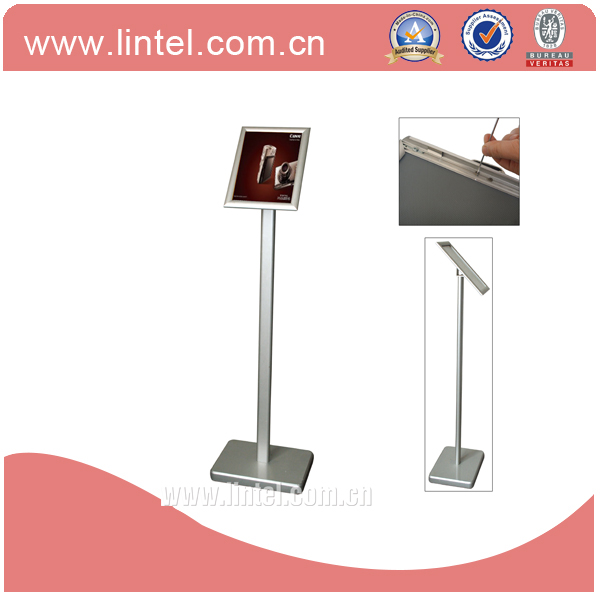 hotel advertising floor stand aluminum silver menu poster stand A4