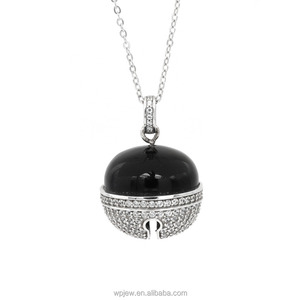 925 Sterling Silver Rhodium Plated Jingle Bell Black Agate Crystal Cubic Zirconia Charm Pendant Long Necklace Jewelry Women