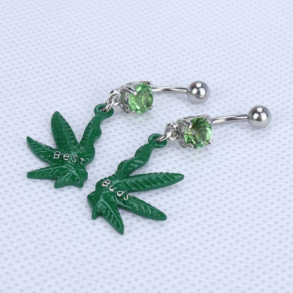 316L Surgical Stainless Steel Dangling Pot Leaf Best Buds Belly Bar Navel Ring