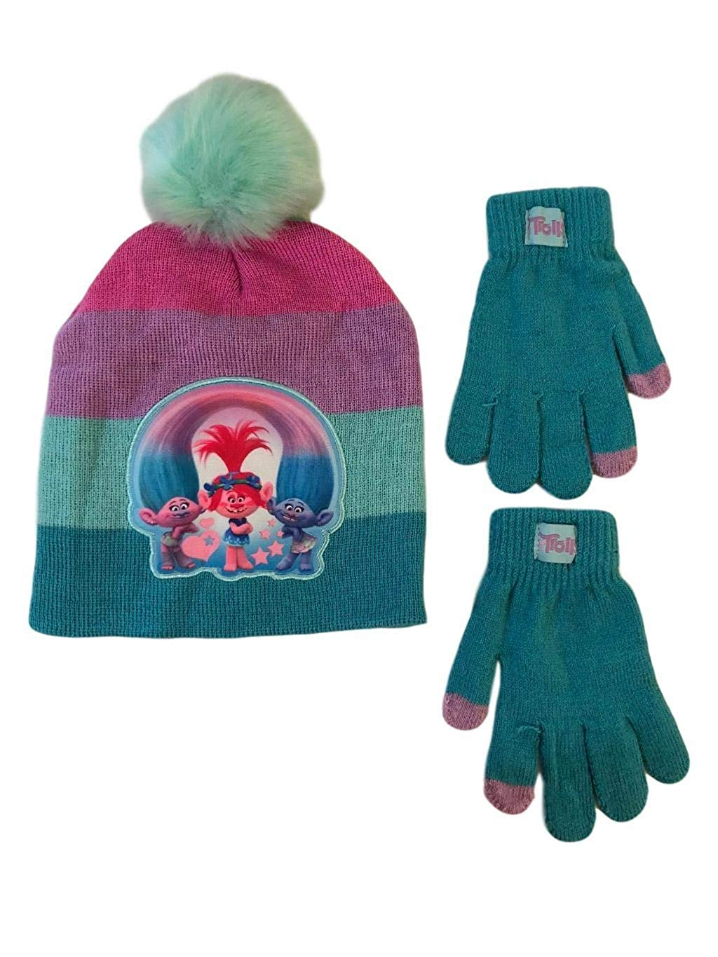 551a9f8645a Get Quotations · Trolls Poppy Girls Beanie Hat and Gloves Touch Tips Winter  Set