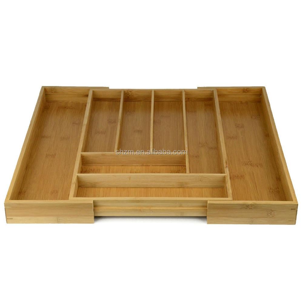 Couverts en bambou extensible Ensemble de 5 /à 7 compartiments Organisateur de tiroir r/églable