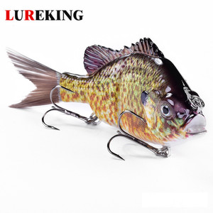 Lureking 42.8G 137Mm Lifelike 3D Eyes 2 Section Bluegill Soft Tail Sunfishing Glide Swimming Bait