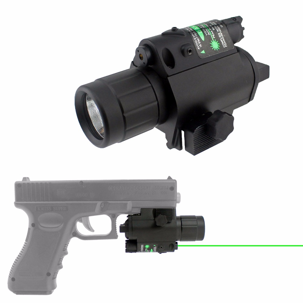 Tactical Green Laser Sight Laser Flashlight Combo for Hunting Rifle and Pistol Glock, Black