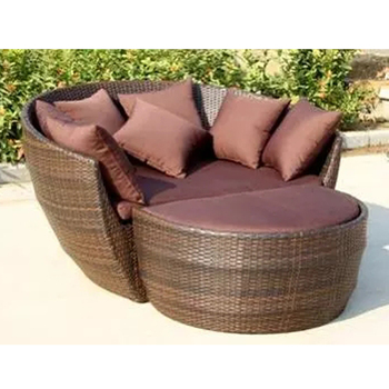 All Weather Patio Rattan Furniture Sofa Set Outdoor Sun Lounge Chair With  One Footstool