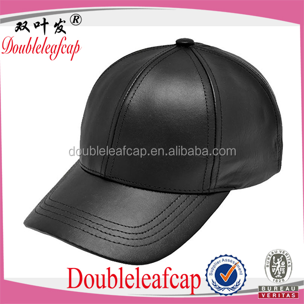 Wholesale Custom Black Leather Snapback Baseball Hat 6 Panel Leather Caps