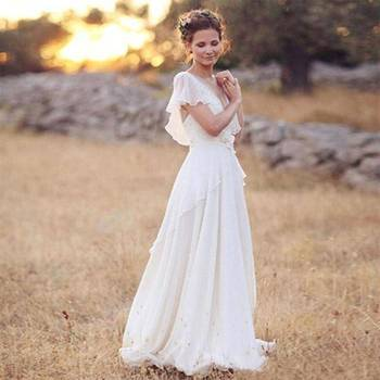 Zh3320g Modest Chiffon Boho Wedding Dresses With Cap Sleeves Lace Appliques Country Western Beach Bridal Wedding Gowns Buy Flowing Chiffon Beach