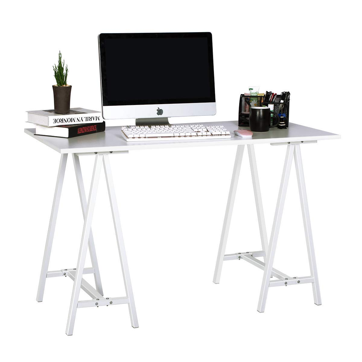 """47"""" Stylish Trestle Computer Writing Study Desk for Home Office (White)"""