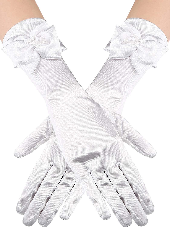 ZaZa Bridal Stretch Satin Gloves for Girl w//Scalloped Trim /& Pearl Accents