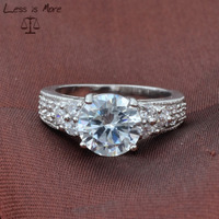Round Cut Cubic Zirconia Halo Ring Sterling Silver 925 Jewelry