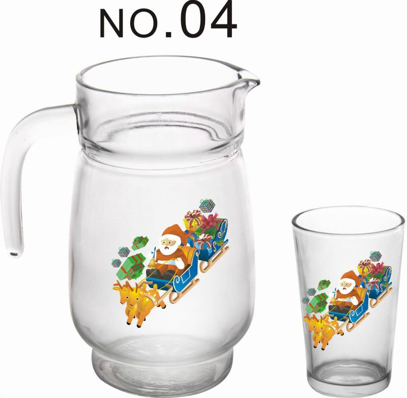 Christmas Design Of Glass Water Jug Set,Glass Drinking Set With ...