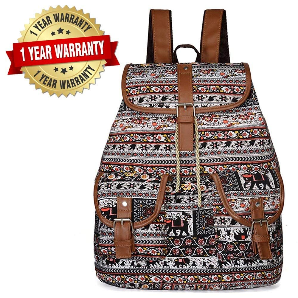 4663055350c1 Get Quotations · Women Canvas Backpack Drawstring Knapsack Girls Casual  Book Bag Bohemian Style Rucksack Outdoor Sports Daypack