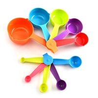 10 piece colorful plastic measuring cups and measuring spoons