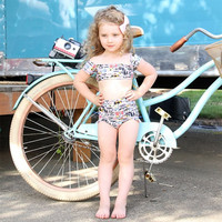 OEM Custom Lovely Little Sexy Kids High Waist Retro Swimsuit Recycled Printed Swimwear Child Girl Two Pieces Bikini