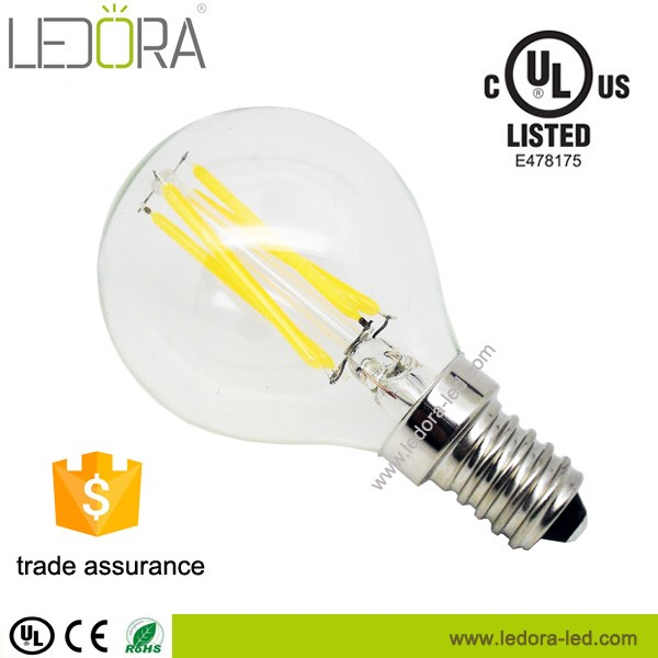 Energy saving ShenZhen LED filament lamp warm white CE RoHS UL approved G45 E12 dimmable bulbs