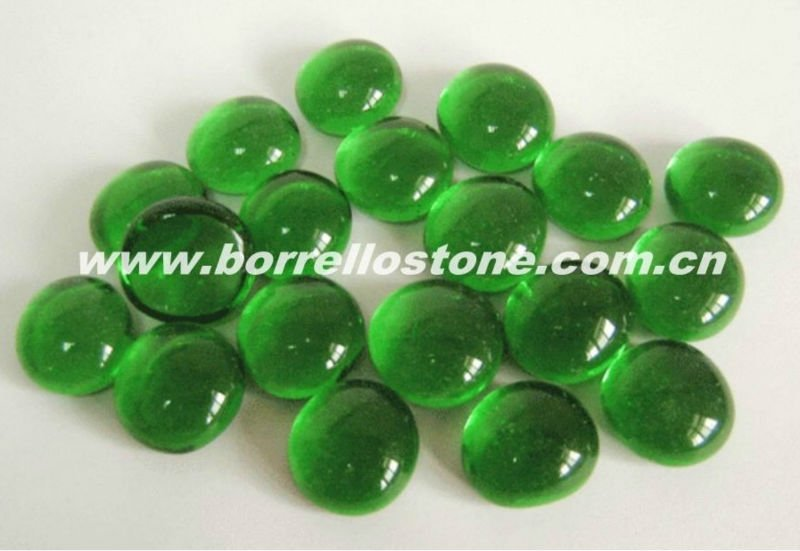 Green Flat Glass Beads With No Hole