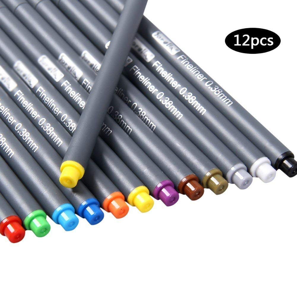 12 Pcs/Set Color Marker Pen 0.38 mm Fine Point Sketch Drawing Pens Note Taking Calendar Art Painting School Office Supplies Pen (12pcs)
