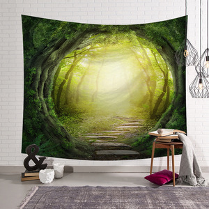 Custom Design Small MOQ Home Decoration Wall Hanging Dreamlike Forest Tapestry