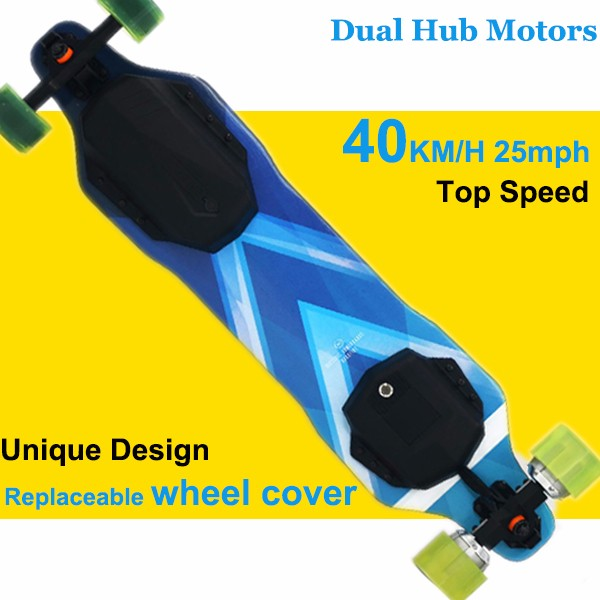 II-521 Mountain King Regenerative Brake 6.2kg 2000W 25MPH Dual Hub Motor Sport Electric Skateboard Wholesale