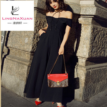 Fashion Thin Summer Solid Black Boat Neck Off Shoulder Jumpsuits for Women