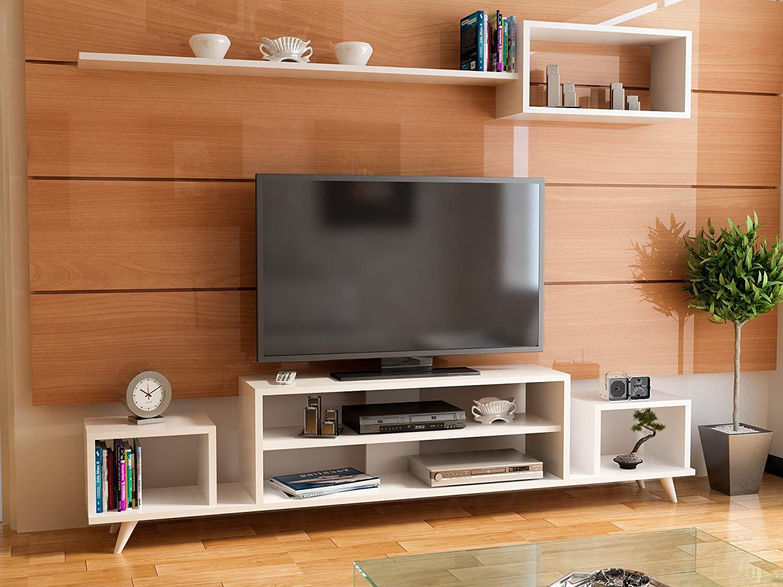 stylish living room tv stand unit modern design with luxury   Buy LaModaHome Tv Stand Unit White Coloured Tv Unit ...