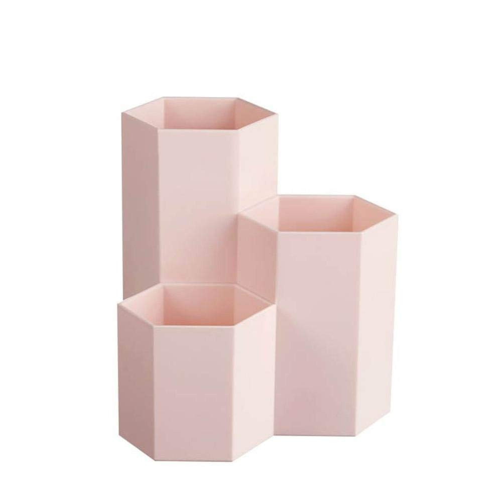 Pencil Holders,Desktop Organizer,Makeup Brush Holder Container,Storage Desk Caddy Tidy Wooden Table Desktop Work Space Cosmetic Holders,Tray Pen Cups for Office School Home (Pink)