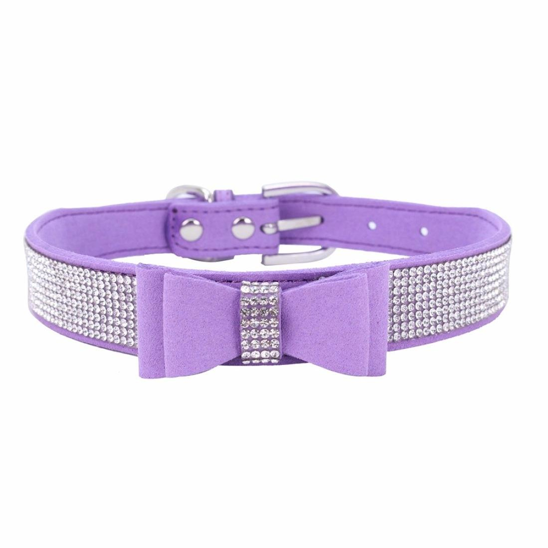 Axchongery Pet Collars,Adjustable Dog Neck Strap Bowknot Diamond Puppy Soft Necklace