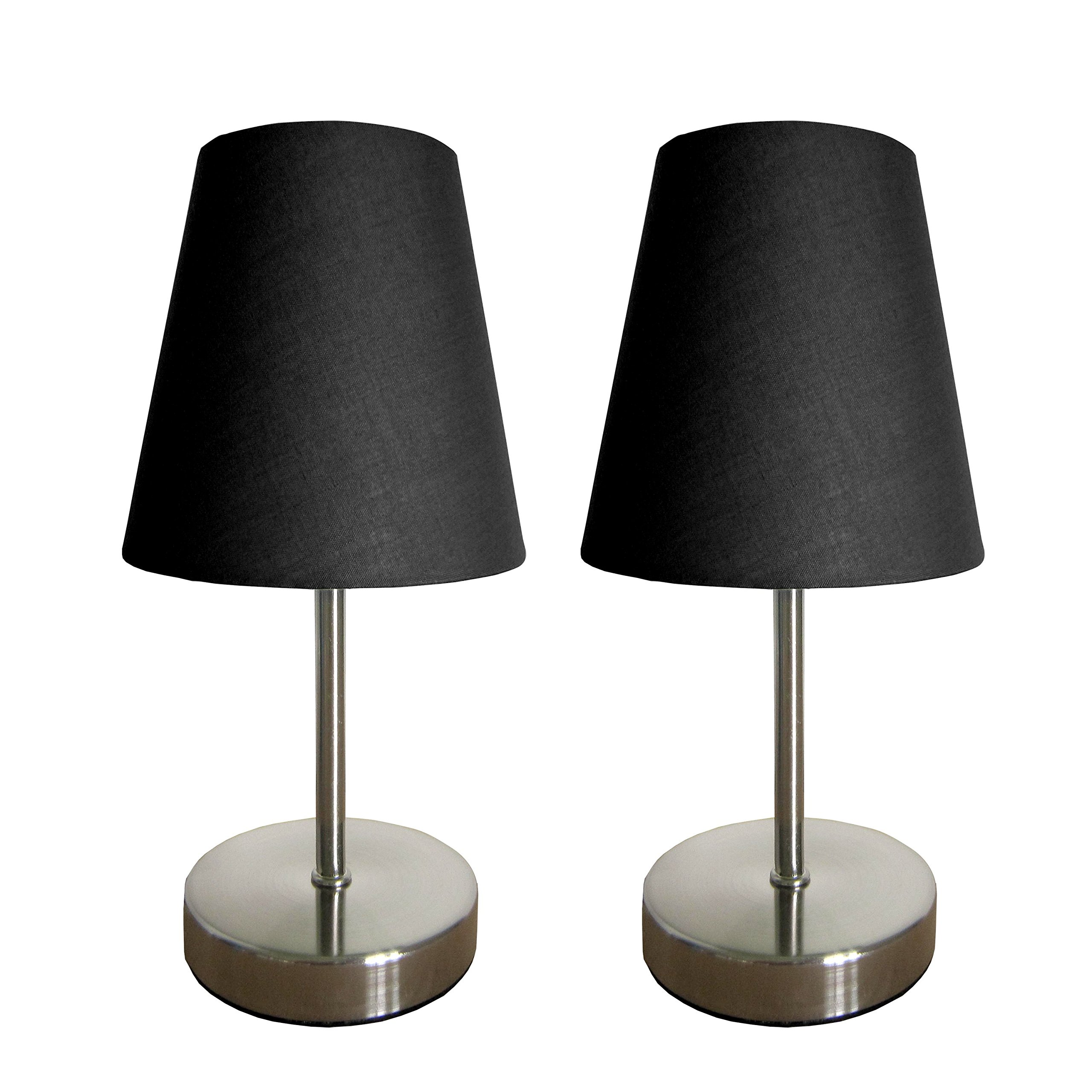 "Simple Designs Home LT2013-BLK-2PK Simple Designs Sand Nickel Mini Basic Table Lamp 2 Pack Set with Fabric Shades, 4.88"" x 4.88"" x 10"", Black"