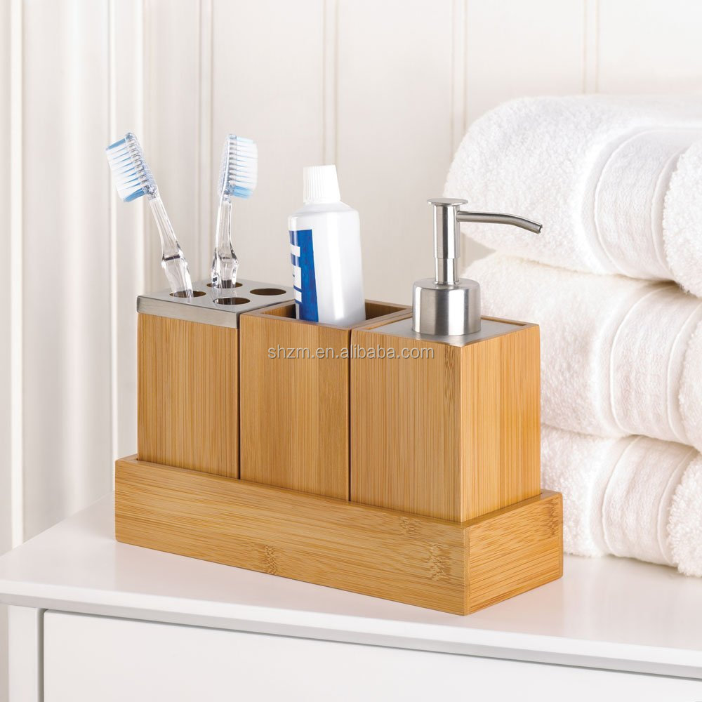 Natural Bamboo Bath Caddy Set Includes Pump Soap Dispenser, Toothebrush Holder