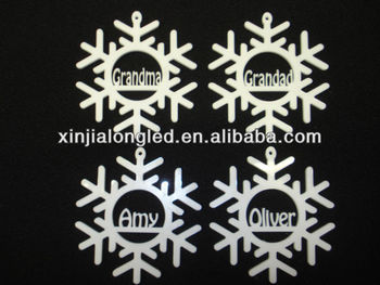 clear acrylic engraving christmas ornaments personalised christmas tree decoration snowflake