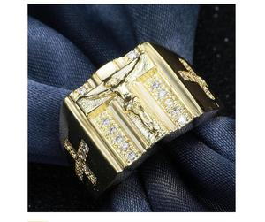 Europe and America hot sale cross ring plated with 18k platinum and diamond men ring street dance