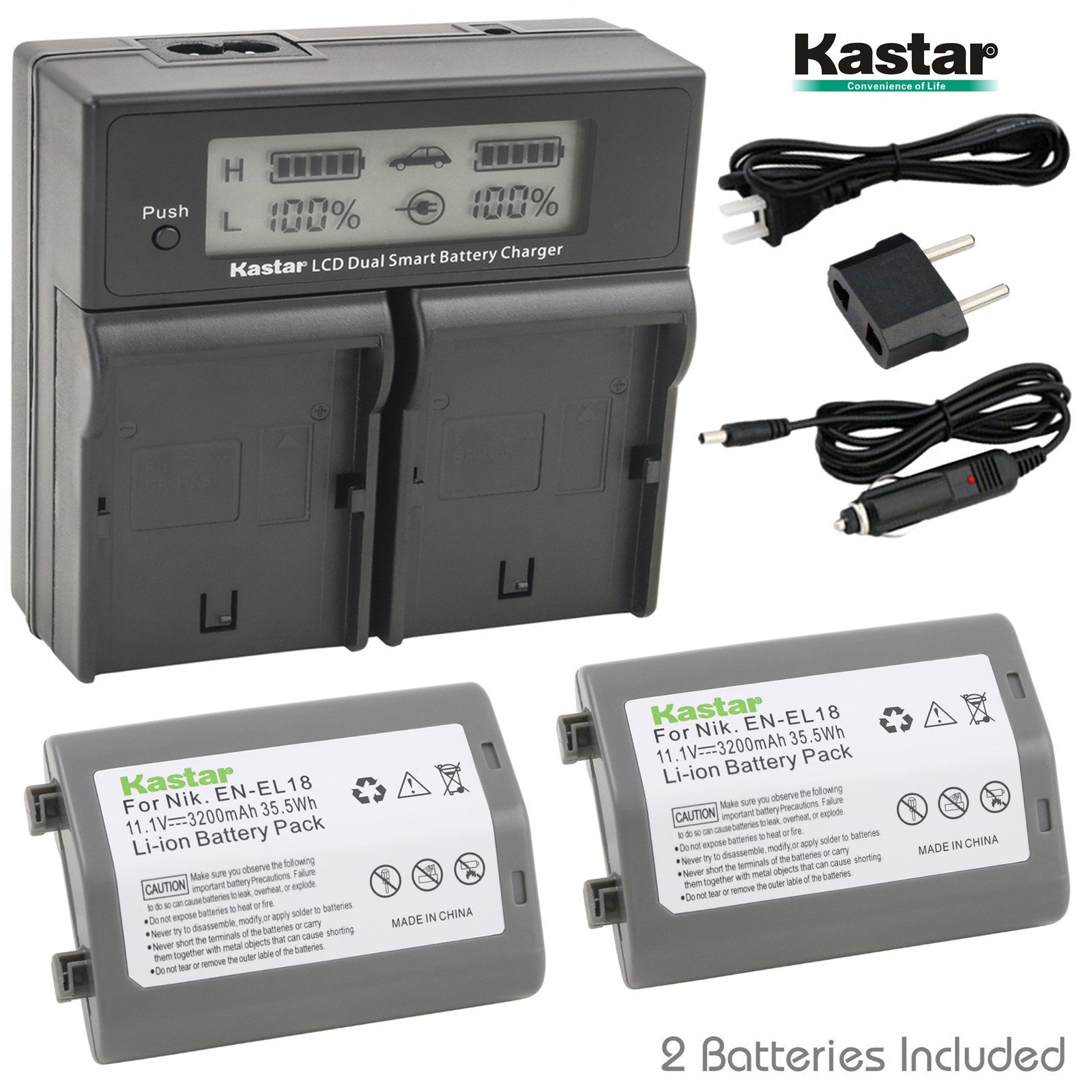Kastar LCD Dual Smart Fast Charger & Battery (2 PACK) for Nikon EN-EL18, EN-EL18a, ENEL18, ENEL18a, MH-26, MH-26a, MH26 and Nikon D4, D4S, D5 Digital SLR Camera, Nikon MB-D12, D800, D800E Battery Grip